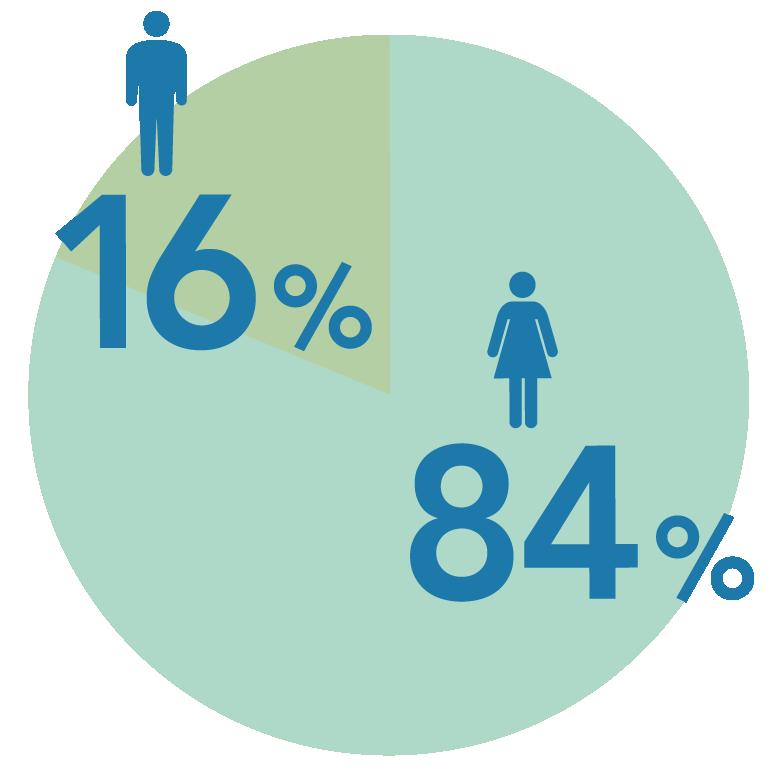 男女比率 男性16%女性84%